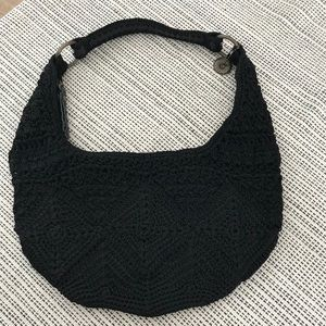 The Sak black crochet bag